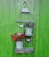 ZENGAI Wand-hängende Blumen-Zahnstange Retro Blumen-Töpfe tun die alte mehrgeschossige Wand-Dekoration-Eisen-Vogel-Rahmen-hängende Blumen-Regal-Wand-Blumen-Standplatz ( größe : 32*19*80cm )