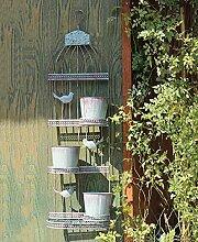 ZENGAI Wand-hängende Blumen-Zahnstange Retro Blumen-Töpfe tun die alte mehrgeschossige Wand-Dekoration-Eisen-Vogel-Rahmen-hängende Blumen-Regal-Wand-Blumen-Standplatz ( größe : 32*19*102cm )