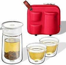 ZENS Teekanne Set Glas Tragbar mit 2 x