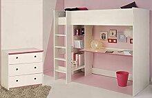ZeoTioo Kinderzimmer 2-tlg weiß/pink/blau Bett +