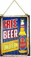 ZEP yy222Dekoration Design Wandtattoo Bier auf Platte gewellt Metall gelb/rot/blau