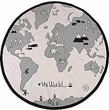 Zerodis 135cm Baby Spielmatte Weltkarte Rund