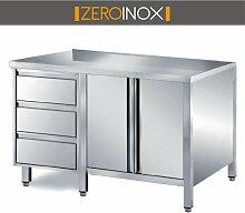 ZeroInox Arbeitstisch ARMADIATO mit Türen und