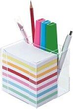 Zettelbox mit Stiftehalter mehrfarbig, folia,