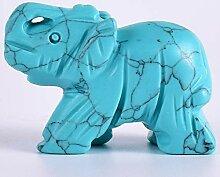 ZEYAUP Statue Kleine Figur Türkis Stein Elefant