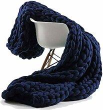 ZFF Decke Gestrickte Grobe Strickdecke Wolle Garn