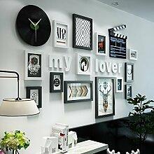 ZFF Fotorahmen Collage Nordic Foto Wand Rekord Uhr