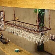 Zfggd Europäische Retro hängenden Becherhalter, Weinglashalter, Bar Tisch Weinhalter hängenden Weinglas Halter einfachen Haushalt -Weinglasgestell (Farbe : Braun, größe : 120*40cm)
