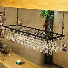 Zfggd Europäische Retro hängenden Becherhalter, Weinglashalter, Bar Tisch Weinhalter hängenden Weinglas Halter einfachen Haushalt -Weinglasgestell (Farbe : Schwarz, größe : 120*40cm)