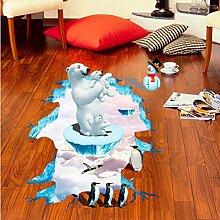 Zfkdsd Kreative 3D Eisbär Pinguin Boden Aufkleber