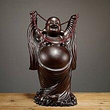 ZFLL Buddha Schwarzes Holz Statue Hand geschnitzt