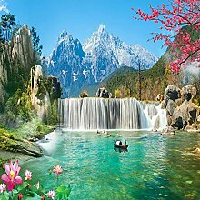Zghnzk Schnee Berg Wasserfall 3D Große Wandbild