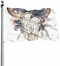 ZHANGhome Dekorative Flaggen Stierkopf Schädel