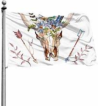 ZHANGhome Flagge Stierkopf mit Blumen und Federn