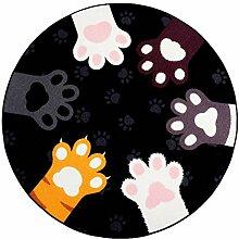 ZHANGQI Teppiche Cartoon Katzenkralle Muster Rund
