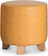 ZHANGRONG- Einfache massive Holz kleinen runden Hocker Wohnzimmer Couchtisch Hocker niedrigen Hocker Abnutzung Schuhe Hocker Lederhocker für Schuhe Hocker Dressing Hocker Sofa Hocker (Farbe wahlweise freigestellt) --Lagerhocker ( Farbe : A-s )