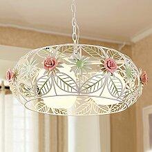 ZHANGRONG-Kronleuchter- Europäischen Stil Garten Stil Eisen Blumen rund Blumen Kronleuchter Wohnzimmer Esszimmer mit heller Dekoration Kronleuchter --Innen Kronleuchter