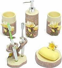ZHANGYONG*5er Set Frisches Design aus strapazierfähigem 3D-geschnitzten Magnolia Bad Accessoires Seife Zahnbürste Gericht Dispenser
