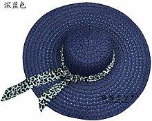 ZHANGYONG*Beständig gegen UV-Licht Schirmmütze tide stetson Strohhut weiblichen Sommer Strand Cap Hüte, Sonnenschutz, 57-58 cm, Dunkelblau