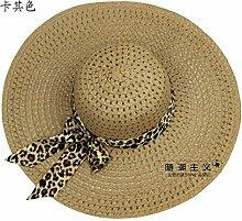 ZHANGYONG*Beständig gegen UV-Licht Schirmmütze tide stetson Strohhut weiblichen Sommer Strand Cap Hüte, Sonnenschutz, 57-58 cm, khaki