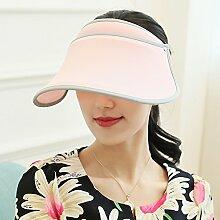 ZHANGYONG*Crimpzange kurze Markisen entlang der Gras hat Visor Frau Freizeitaktivitäten Gezeiten Strand Cap hüte UV-Sonnenschutz Hüte, verstellbare, light pink
