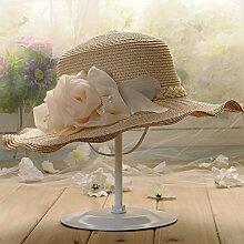 ZHANGYONG*Frau entlang der großen Visier Sonnenschutz gap Kinder Sommer tide Hüte Sommer Strohhut Freizeitaktivitäten Strand, Caps sind Code, beige