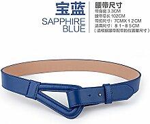 ZHANGYONG Frau Verziert Gurtbreite Anzüge Röcke Leder Gürtel Weibliche Mode Accessoires Blau 103CM