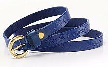 ZHANGYONG Frauen Taille Mit Leder Mode Dekorative Gürtel Blau 80-95CM