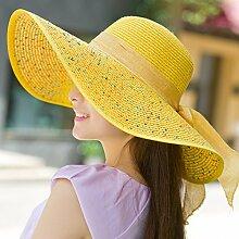 ZHANGYONG*Hüte weibliche Frühling und Sommer Strohhut Strand Cap Stetson Hut hüte Sonnenschutz uv-Tourismus vorgeschrieben, sind Code (54-60 m), Gelb
