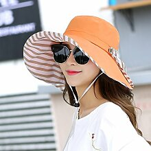 ZHANGYONG*Kinder Sommer Quartal hut Hüte großen außen entlang der Sonnenschutz Visor touristische Radfahren faltbar Strand, Caps sind Code (einstellbar), Orange