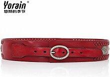 ZHANGYONG*Personalisierte Nieten Leder breiter Bund mit Anzügen die Notwendigkeit, sein Hemd zu erhöhen Röcke lange Riemen weben Leder, Gürtel, 104 cm Wein rot dekorier