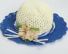 ZHANGYONG*Sommer Damen am Strand Cap Gras hüte Hüte visor UV-Sonnenschutz Stetson Hut Hüte, 50-52cm), (Dunkelblau