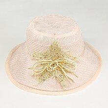 ZHANGYONG*Sommer Frauen entlang der Visor große Strand Kappe vom Frühjahr und Herbst Stetson Hut faltbar duplex Sonnenschutz Hüte, Code, ist Rosa