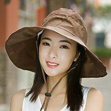 ZHANGYONG*Sonnenhut Sommer weiblich UV Stetson Hut tide Sommer faltbar Strand Cap Sonnenschutz Hüte, sind Code (54-59 cm), Braun