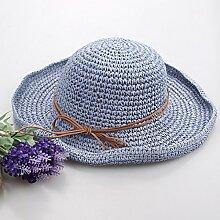 ZHANGYONG*Sonnenschutz faltbar Strohhut weiblichen Sommer Getaways Strand Cap Stroh Hüte, Hüte, verstellbar, hellblau
