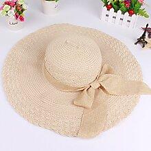 ZHANGYONG*Stetson Strohhut tide Sonnenschutz Sonnenschutz Hut faltbar Sommer Sonne Hüte weibliche Sonnencreme Beach Hut, M, m, gelb