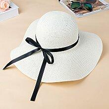 ZHANGYONG*Stroh Hut Sommer Mädchen schwarz schattiert Gesicht UV-Sonnenschutz faltbar Strand Cap große entlang sun Hüte, Kappen sind Code ist einstellbar, Creme