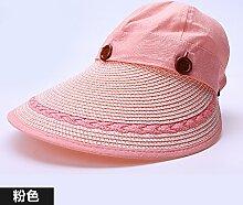 ZHANGYONG*Sun hüte Kinder faltbarer Sonnenschutz Strohhüte Frühling und Sommer tide UV-Strand Cap kühl ist, Kappen, verstellbare Rosa