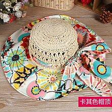 ZHANGYONG*Sun Hüte weibliche Sommer Visier Sonnenschutz Strand Cap maximale UV-Falte entlang Kühler Kappe, M, khaki Cap top