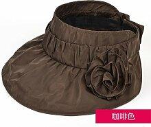 ZHANGYONG*Visor weiblichen Sommer faltbarer Sonnenschutz Hut Frau UV-leer Top hat Strand, Sonne Hüte sind Code, Braun