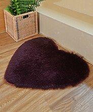 ZHANWEI Bereich Teppiche Einfache feste Farbe Herz-geformter Teppich Wasser-Absorption rutschfester Badezimmer-Wohnzimmer-Sofa-Teppich-Hall-Schlafzimmer-Teppich ( Farbe : F , größe : 70*80CM )