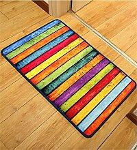 ZHANWEI Bereich Teppiche Moderne Retro Bunte Streifen Matten Nicht rutschfeste Wasserabsorption Fußteppich Tür Matte ( größe : 80*120cm )