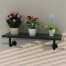 ZHANWEI Blumenständer Amerikanisches Retro Eisen-Wasser-Rohr-Wand-Regal-Regal-Regal / Bücherregal / Regal-kreativer Blumen-Zahnstange Blumenregal ( Farbe : A , größe : 60 )