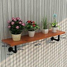 ZHANWEI Blumenständer Amerikanisches Retro Eisen-Wasser-Rohr-Wand-Regal-Regal-Regal / Bücherregal / Regal-kreativer Blumen-Zahnstange Blumenregal ( Farbe : C , größe : 80cm )