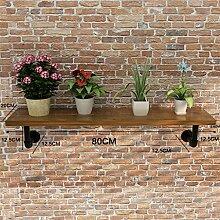 ZHANWEI Blumenständer Amerikanisches Retro Eisen-Wasser-Rohr-Wand-Regal-Regal-Regal / Bücherregal / Regal-kreativer Blumen-Zahnstange Blumenregal ( Farbe : B , größe : 80cm )
