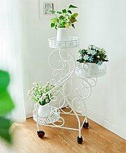 ZHANWEI Blumenständer Balkon Blumentopf Rahmen Dreistöckige Pflanze Rahmen Bewegliche Eisen Blumenrahmen mit Rädern Blumenregal ( Farbe : C )