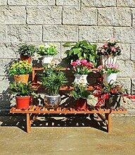 ZHANWEI Blumenständer Courtyard Blumentopf Rack, Outdoor Massivholz Leiter Blumenständer Pflanze Töpfe Balkon Drei Leiter Blumenständer Blumenregal ( Farbe : A )