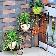 ZHANWEI Blumenständer Eisen-Blumen-Racks Wohnzimmer mit Indoor-und Outdoor-Boden-Leiter Multilayer Iron Flower Regal / Plant Shelf / Bonsai Rack Blumenregal ( Farbe : D )