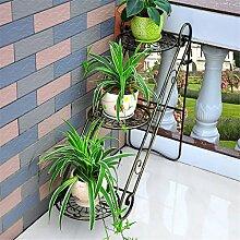 ZHANWEI Blumenständer Eisen-Blumen-Racks Wohnzimmer mit Indoor-und Outdoor-Boden-Leiter Multilayer Iron Flower Regal / Plant Shelf / Bonsai Rack Blumenregal ( Farbe : B )