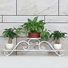 ZHANWEI Blumenständer Europäischer Eisen Blumenständer Mehrstöckiger Balkon Wohnzimmer Blumentopf Rahmen / Indoor Pflanze Regale Blumenregal ( Farbe : Weiß , größe : 86*23*24cm )